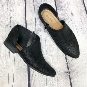 Qupid Black, Cutout, Ankle Booties